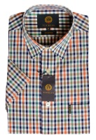 Viyella Cotton Short Sleeve Rooster Ikat Mini Check Shirt