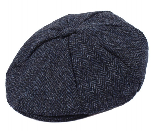 Dents - Harris Tweed 8 piece cap navy