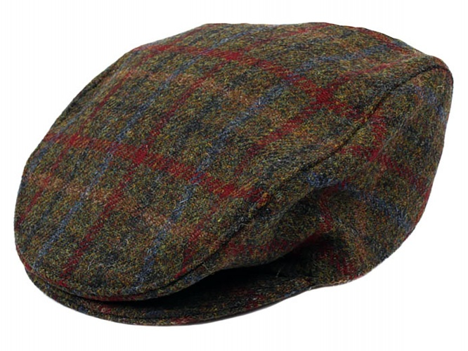 Dents - Harris Tweed flat cap sage