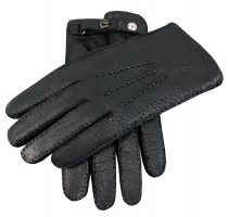 Dents Hampton - Men's Handsewn Cashmere Lined Peccary Leather Gloves Black