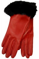 Dents - Glamis Ladies Silk Lined Hairsheep Leather Gloves with Fur Cuffs Berry