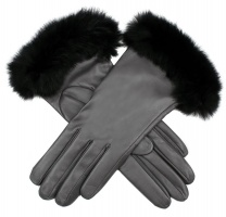 Dents - Ladies Silk Lined Hairsheep Leather Gloves with Fur Cuffs Charcoal