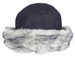 Dents - Wax Cotton Hat with Faux Fur Brim Navy