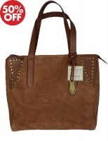 Dents - Large zip top suede tote bag tan