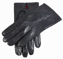 Dents - Kingston mens red silk lined hairsheep leather gloves