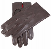 Dents - Red silk lined hairsheep leather gloves brown