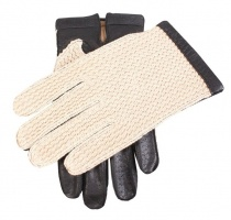 Dents - Cotswold Cotton crochet back driving gloves black