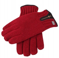Dents - Thinsulate knitted glove with zip detail burgundy