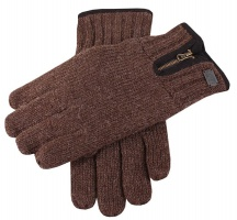Dents - Thinsulate knitted glove with zip detail chocolate