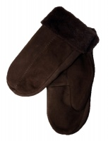 Dents - Alice Women's Suede Mittens Light Brown Dark Brown cuffs