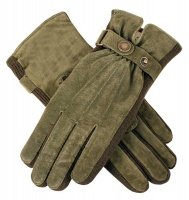 Dents - Laura Women's Suede Gloves with Strap Detail Sage