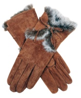 Dents - Orla Women's Pigsuede Gloves with Fur Cuffs Cognac