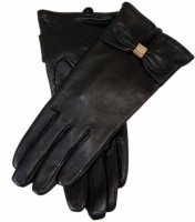 Dents - Ladies Hairsheep Leather Gloves with Bow Detail Black