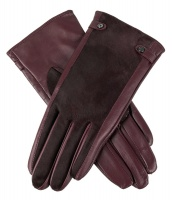 Dents - Clara Women's Wool Lined Hairsheep Leather Gloves with Ponyskin Insert Claret