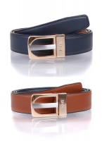 Dents - Reversible leather belt in navy and tan