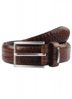 Dents - Crocodile print leather belt brown