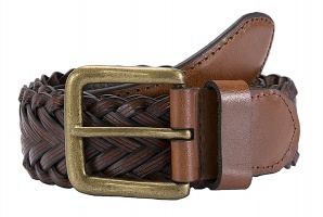 Dents - Plaited leather single keeper belt tan