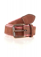 Dents - Webbing and leather belt salmon