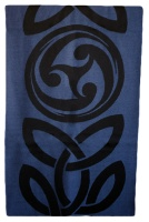 James Pure Wool Celtic Swirl Reversible Scarf Navy Lilac