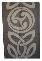 James Pure Wool Celtic Swirl Reversible Scarf Taupe Natural