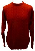 Johnstons - Mens lambswool cable crew neck pullover scarlet