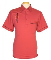 Gabicci - Washed red polo shirt with embroidered pattern