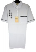 Gabicci - White polo shirt with diamond pattern
