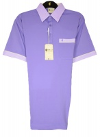 Gabicci - Violet polo shirt with contrast collar and sleeve end