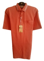 Gabicci - Plain Polo shirt with patterned button down collar