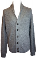 Johnstons - Mens cashmere cable and rib shawl collar cardigan in light grey