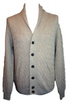 Johnstons - Mens cashmere cable and rib shawl collar cardigan in dark medium dyed