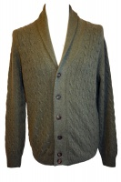 Johnstons - Mens cashmere cable and rib shawl collar cardigan in loden
