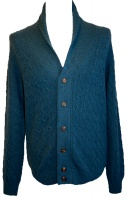 Johnstons - Mens cashmere cable and rib shawl collar cardigan in teal
