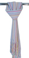 Johnstons  - Lambswool long knitted pastel stripey scarf