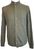 Johnstons - Mens cashmere cable turtle neck cardigan loden