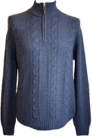 Johnstons - Mens cashmere cable zip neck pullover eclipse