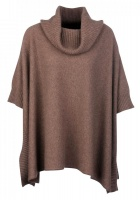 Johnstons - Ladies cashmere cowl neck blanket poncho otter