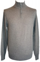 Johnstons - Mens cashmere zip turtle neck pullover driftwood