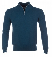 Johnstons - Mens cashmere zip turtle neck pullover teal
