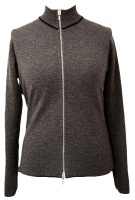 Johnstons - Ladies cashmere 2ply reversible zip cardigan navy mid grey