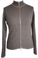 Johnstons - Ladies cashmere 2ply reversible zip cardigan sandstorm driftwood