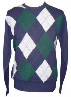 Westaway Mens Lambswool Argyle Intarsia Crew Neck Pullover Navy Blue