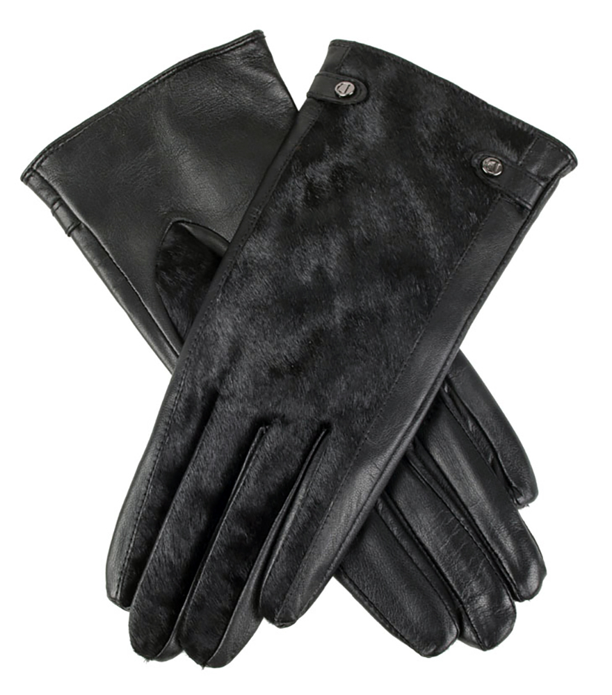 Black leather gloves with red buttons - Black Leather Gloves With Inserts Dents Clara Women S Wool Lined Hairsheep Leather Gloves With