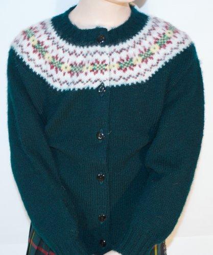 Childrens shetland fair isle yoke cardigan