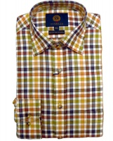 Viyella - English mustard mini check shirt