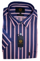 Viyella Cotton Short Sleeve Shirt purple and pink stripes