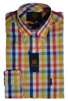 Viyella Cotton Gold Pastel Check Shirt