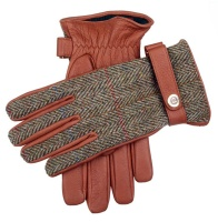 Dents - Dunmore Harris tweed and deerskin leather gloves