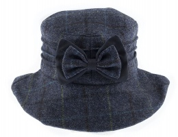Dents - Abraham Moon Check Hat with Bow Detail