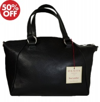 Dents - Zip top tote bag with detachable strap black
